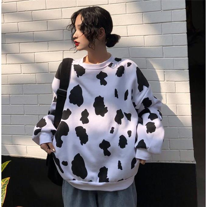 Women Black White Dairy Cow Print Oversized Sweatshirt Plus Size Streetwear Casual Hoodies Jumper Top Loose Pullovers in Hoodies amp Sweatshirts from Women 39 s Clothing