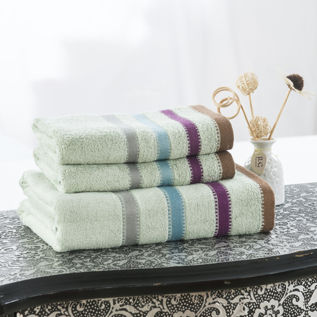 Luxury Bamboo Striped 3 Pcs Hotel Travel Beach Bath Towel Set For