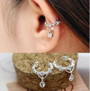 Women Ear Cuff Wrap Rhinestone crystal Clip On Earring Jewelry silver one Water drops