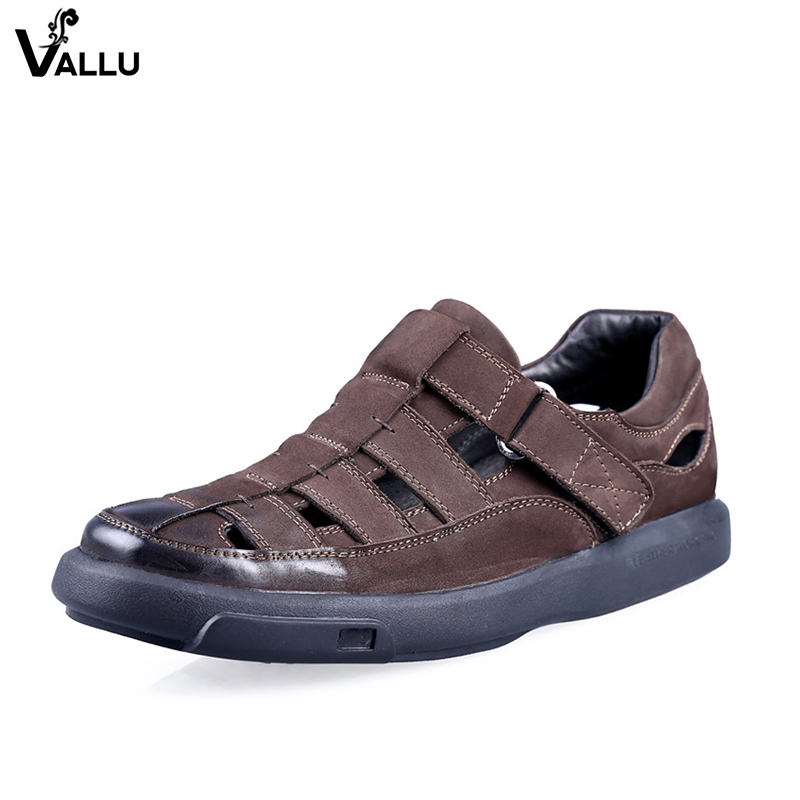 цены Hollow Out Sandals For Men Natural Leather European Fashion Style Male Breathable Hole Sandals Casual Cut Out Mans Cool Shoes