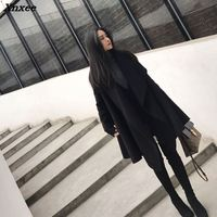 Casual Fashion Women Long Wool Blend Coat Warm Slim Cashmere Jacket Cloak Solid Open Stitch Ladies Coats Xnxee