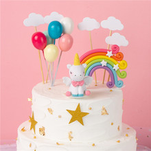 Rainbow Unicorn Cake Topper Birthday Wedding Flags Cloud Balloon cake flag Party Baking Decoration Supplies