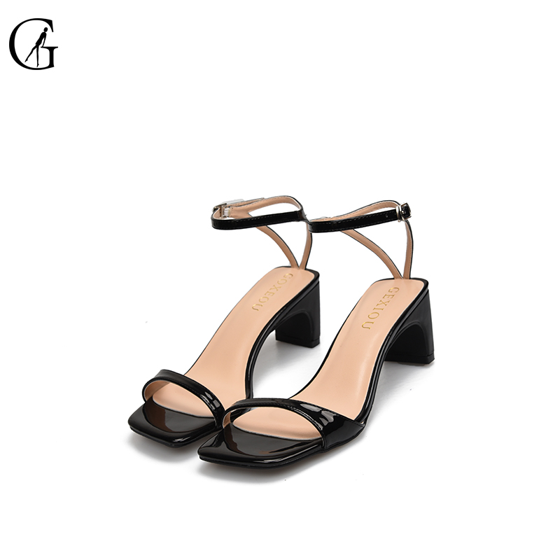 GOXEOU 2019 New Women Sandals size 32 46 Square Heel High Heels Sexy Summer Lace up