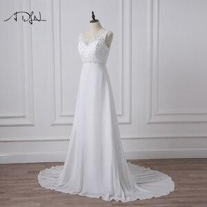 Image 4 - ADLN מלאי שיפון חוף חתונת שמלות לבן/שנהב Boho כלה שמלת Vestidos דה Novia V צוואר חרוזים בתוספת גודל כלה שמלה