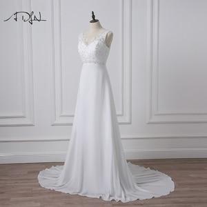 Image 4 - ADLN Stock Chiffon Beach Wedding Dresses White/Ivory Boho Bridal Gown Vestidos de Novia V neck Beaded Plus Size Bride Dress