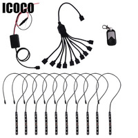 ICOCO 2016 New 10 Strip In 1 Set RGB LED Atmosphere Decorative Lamp Inside The Car