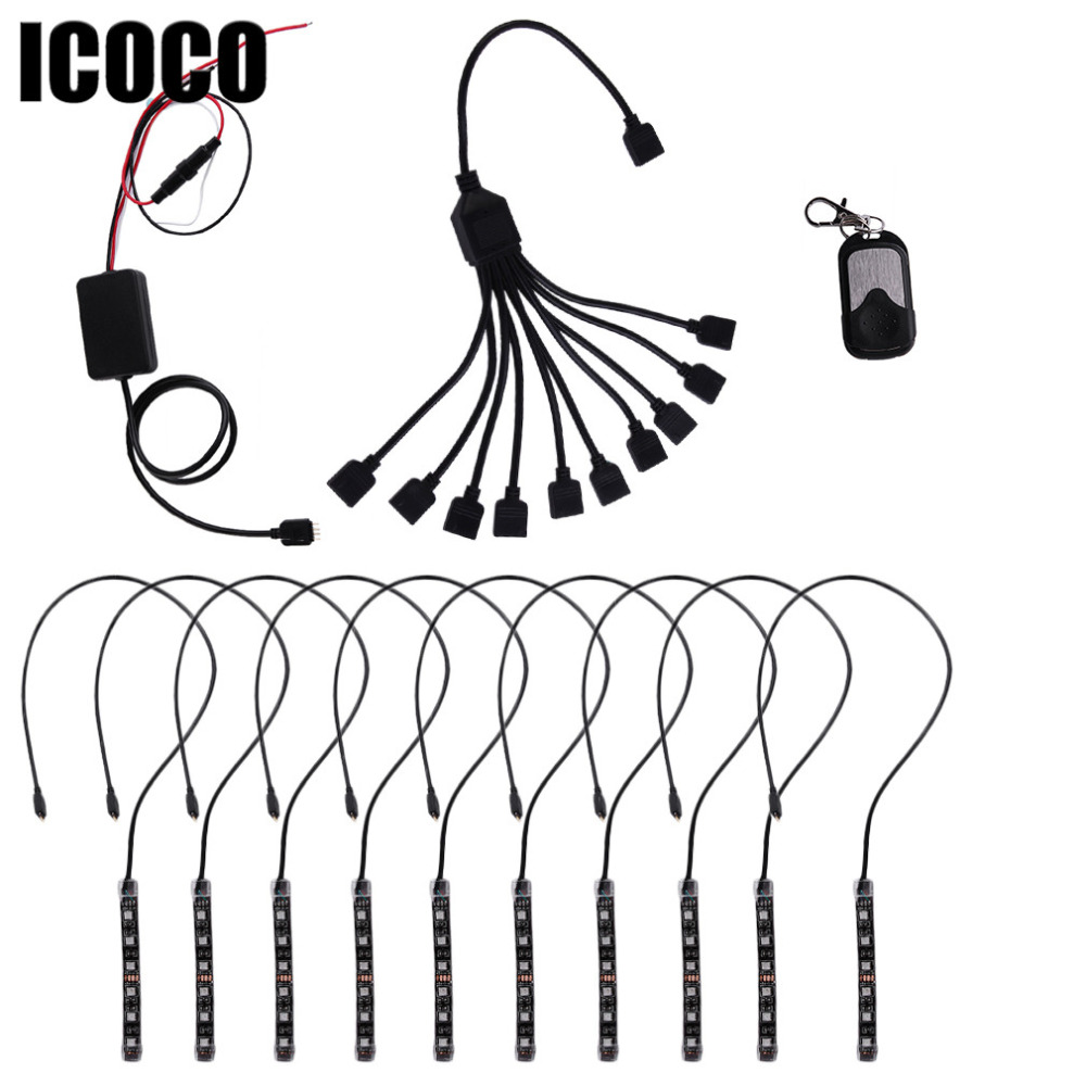 ICOCO 10 In 1 Set RGB LED Atmosphere Decorative Lamp Inside The Car Lights LED Strip Kit Car Interior Styling