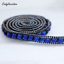 10mm Beaded Rhinestons Trim Iron On Diamond Crystal Trim Ribbon Wrap Sewing Accessories DIY Wedding Bags Party Decor Pink Blue contrast trim tropical wrap top