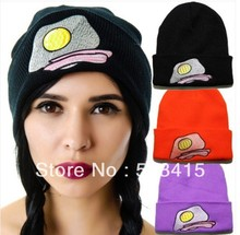 Free shipping winter egg embroidery wool hip-hop Knitted men and women skullies & beanies Autumn Casual Cap Hats