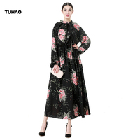 Tuhao Otoño Invierno swing una línea vestido floral Albornoces más tamaños 5xl 6xl 7xl piso-longitud Maxi largo vestidos cm07