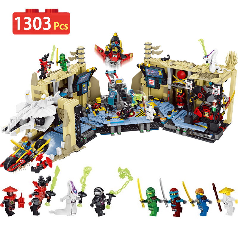 1303pcs Ninja Series Chaos Warrior Cave Building Blocks Toys for Children festival Gift dhl new lepin 06039 1351pcs ninja samurai x desert cave chaos nya lloyd pythor building bricks blocks toys compatible 70596
