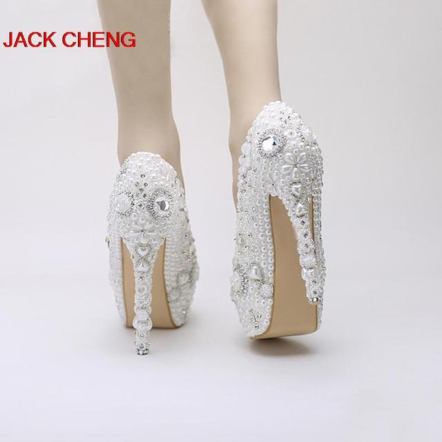 2018 NewStyle Snow White High Heels Rhinestone Crystal Dress Shoes Pearl Wedding Shoes Platform Pageant Event Pumps Women Shoes