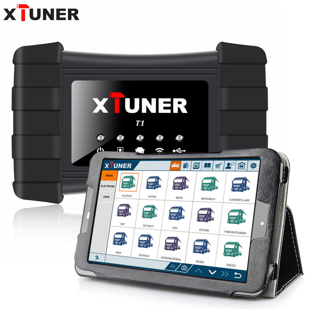 XTUNER T1 Heavy Duty Trucks Auto Intelligent Diagnostic Tool Support WIFI  Read ECU Info, Read DTCs, Erase DTCs,ABS +WIN10 tablet