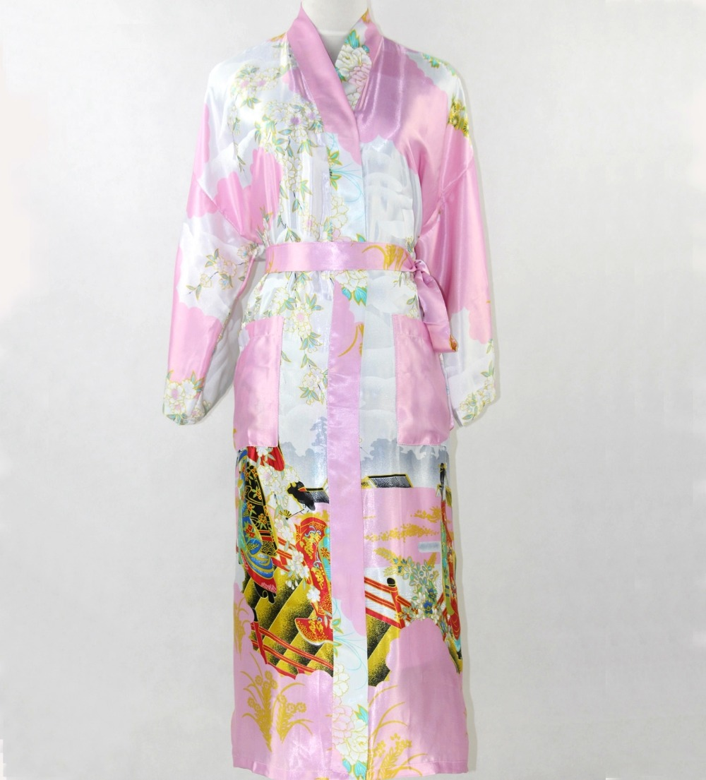 New Fashion Pink Chinese Women Silk Robe Sexy Kimono Bath Gown Long Sleepwear Mujer Pijama Plus Size S M L XL XXL XXXL SR013