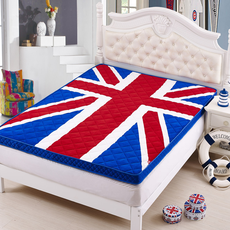 цены Union Jack Thick Warm Foldable Single Or Double Mattress Fashion NEW Topper Quilted Bed Hotel