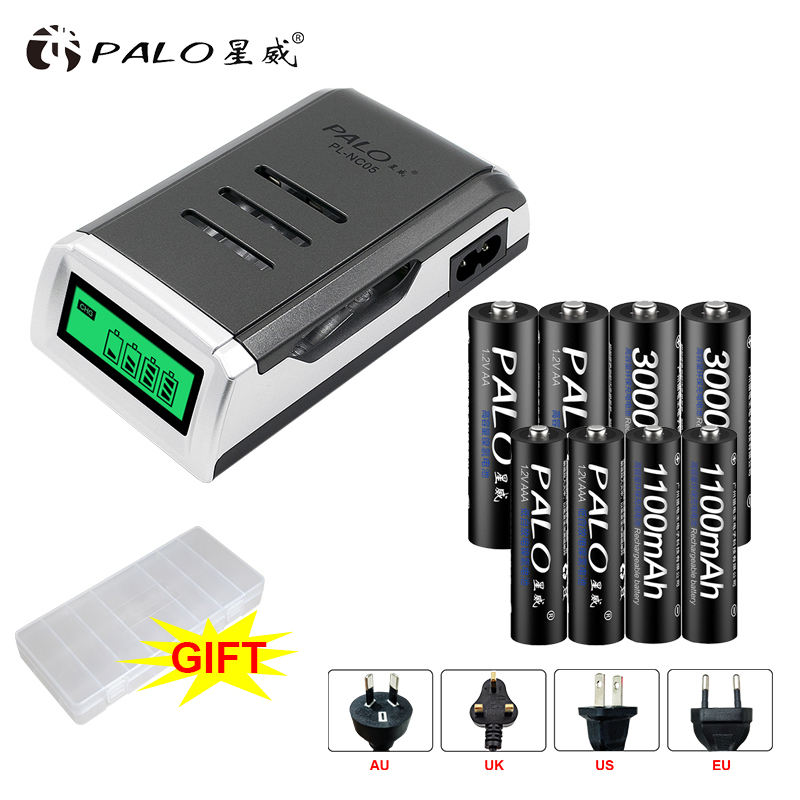 PALO 4 Slots LCD Display Screen Smart Intelligent Battery Charger bateria For AA AAA batteria +AA AAA rechargeable batteries 5 5 x 2cm lcd multifunctional intelligent digital 4 x aa aaa batteries charger black us plug