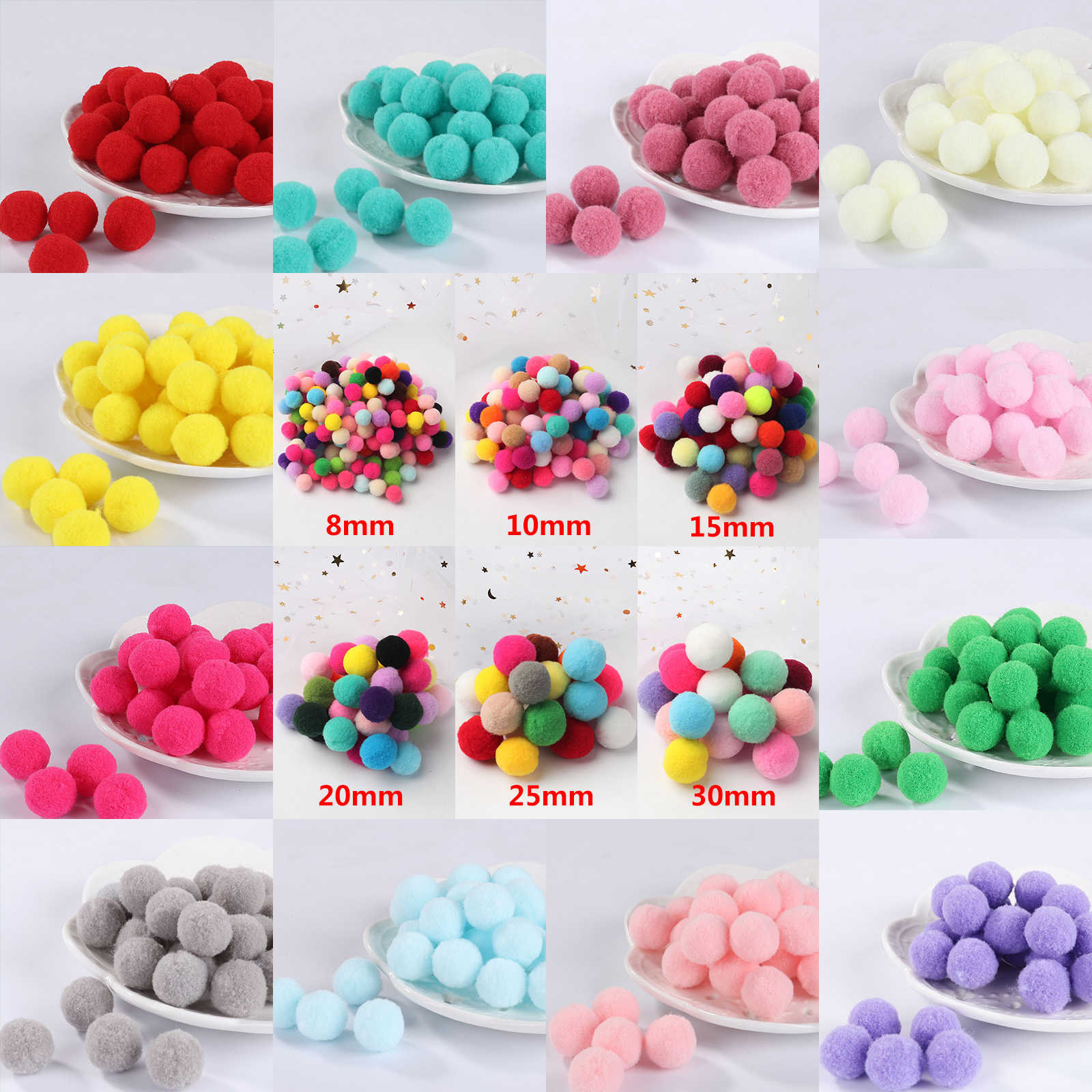 Pompom 8mm 10mm 15mm 20mm 25mm 30mm Soft Pompones Fluffy Plush Crafts DIY Pom Poms Ball Furball Home Decor Sewing Supplies