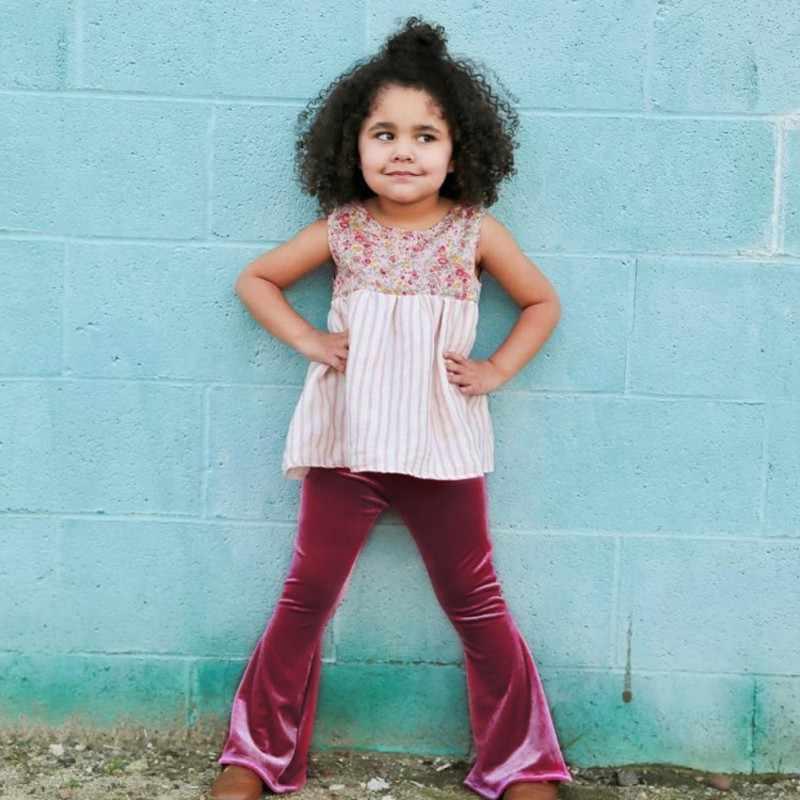 สูงเด็กวัยหัดเดินกางเกง Bursts Of หญิงทองกำมะหยี่สี Pure Slim เด็ก Flare กางเกงฤดูใบไม้ร่วงและฤดูหนาว Leggings 2018