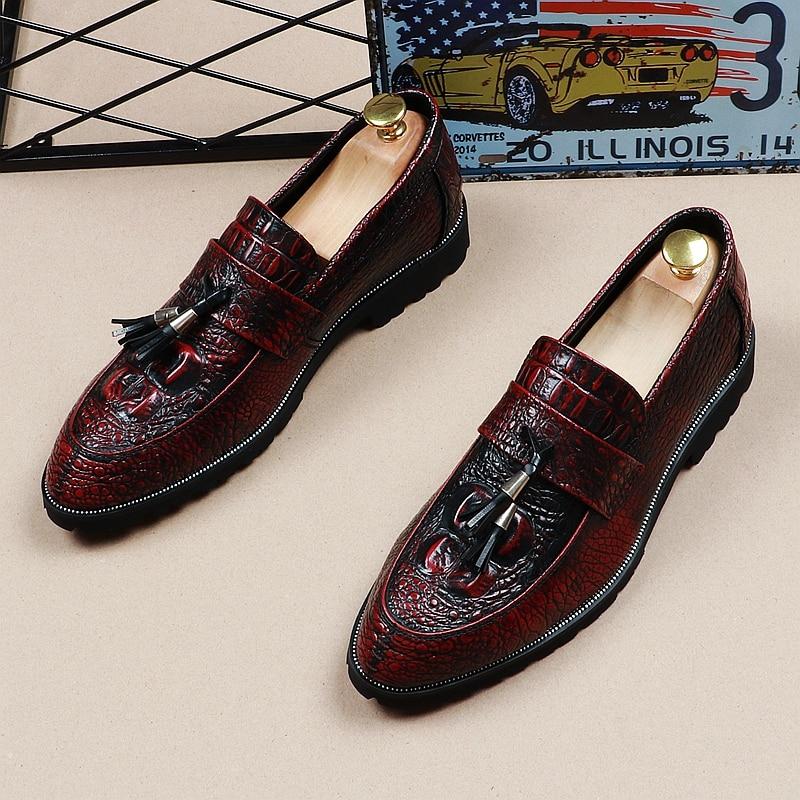 Hommes Main En rouge Chaussures Appartements Motif Glands Marque Crocodile Pu Jozigbema D'affaires Cuir Casual Noir Oxford Homme made qIExXffwzT
