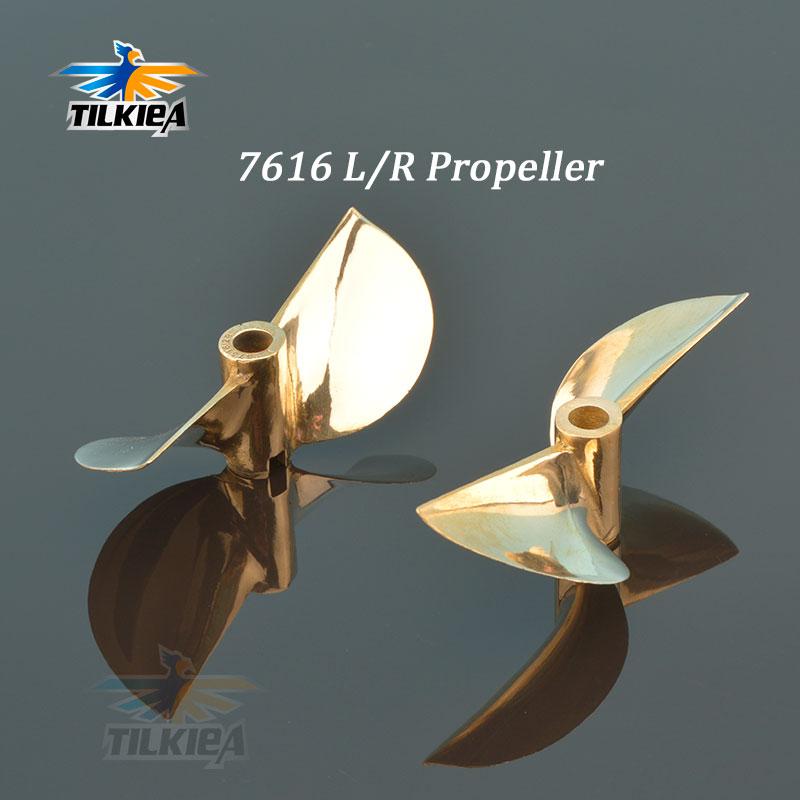 Rc Propeller 7616  2 Blades Copper Prop Left / Right Diameter 76mm For 6.35mm 1/4