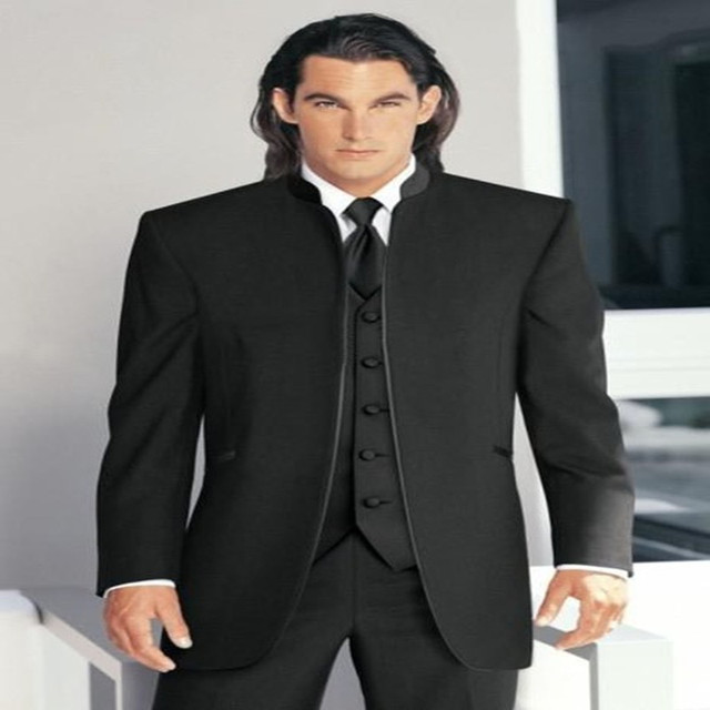 Handsome Clic Custom Made Black Wedding Suits For Men Groom Suit Three Piece Mens Slim