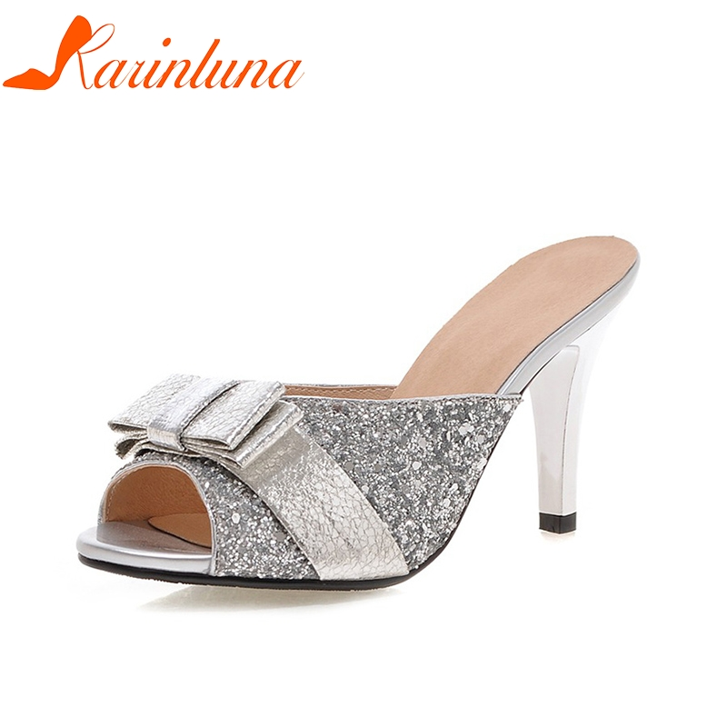 31cc90166e54 KARINLUNA New 2018 brand Big Size 32-43 Sweet Bow Summer Party Woman Shoes  Women Sexy Bling Upper Mules Pumps Shoes Footwear
