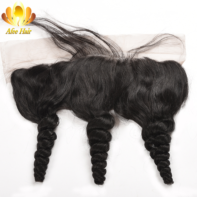 Ali Afee Loose Wave 13X4 Ear to Ear Lace Frontal with Baby Hair Brazilian Non-remy Human Hair 8-20 inches Free Shipping