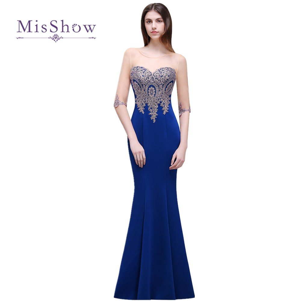 cheap royal blue mermaid long bridesmaid dresses half sleeved party dress gold applique robe de. Black Bedroom Furniture Sets. Home Design Ideas