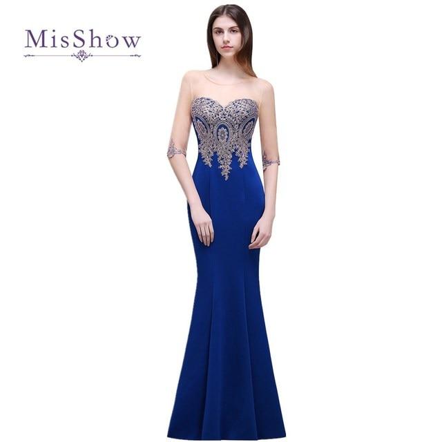Cheap Royal Blue Mermaid bridesmaid dresses long Half sleeve vestidos de festa robe de demoiselle d'honneur Wedding Guest Dress