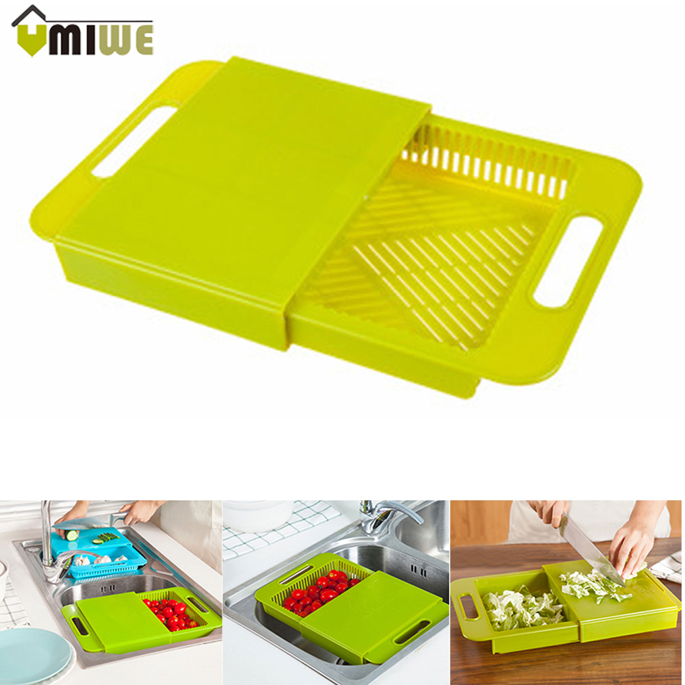 2016 New Multifunctional Drawer draining Antibiotic Storage Chopping Block Plastic Anti mildew Cutting Board Kitchen Utensils