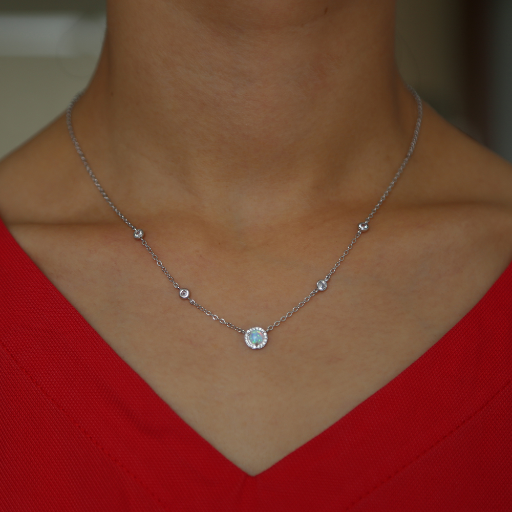 statement cz station necklace round charms opal stone simple fashion women jewelry
