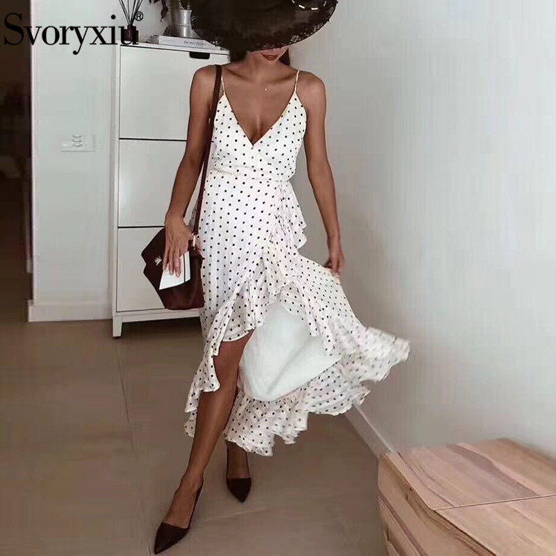 Svoryxiu Designer Sexy Polka Dot Long Summer Dress Women Elegant V Neck Beach Holiday Ruffles Split
