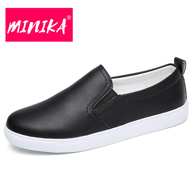 MINIKA Size 35-41 Women Leather Casual Shoes Spring Summer Slip on Women Sneakers Casual Shoes for Women Flats 5colors spring summer flock women flats shoes female round toe casual shoes lady slip on loafers shoes plus size 40 41 42 43 gh8