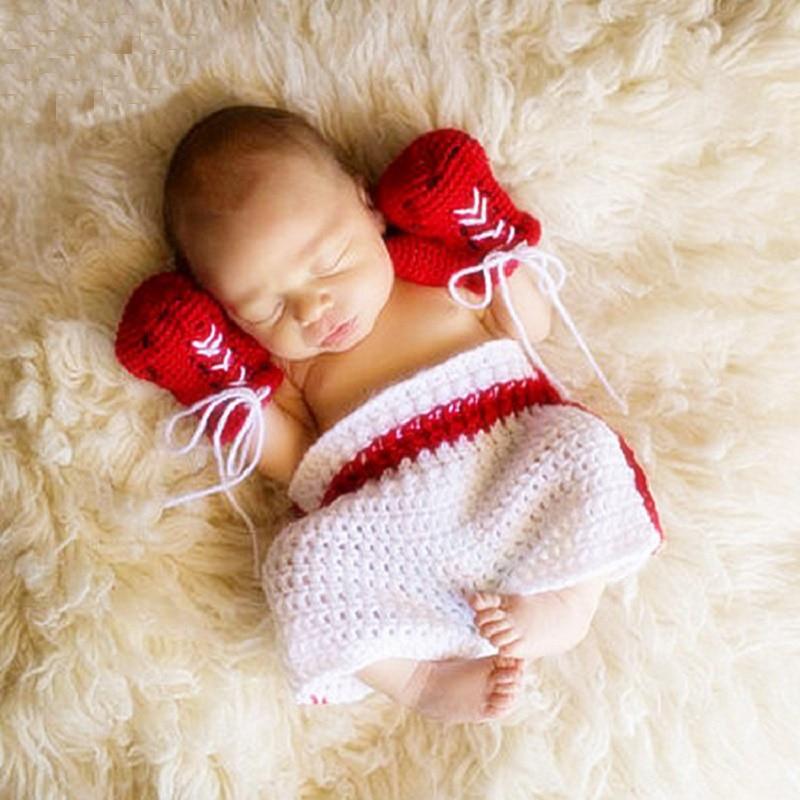 >Baby Boy Photo Shoot Boxing <font><b>Champion</b></font> <font><b>Outfits</b></font> Newborn Photography Props Clothes Infant Fotografia Accessories Baby Knit Clothes
