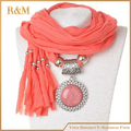 Long scarves pendant necklace women Oval shaped charm with big glass stones scarves, 5 colors available