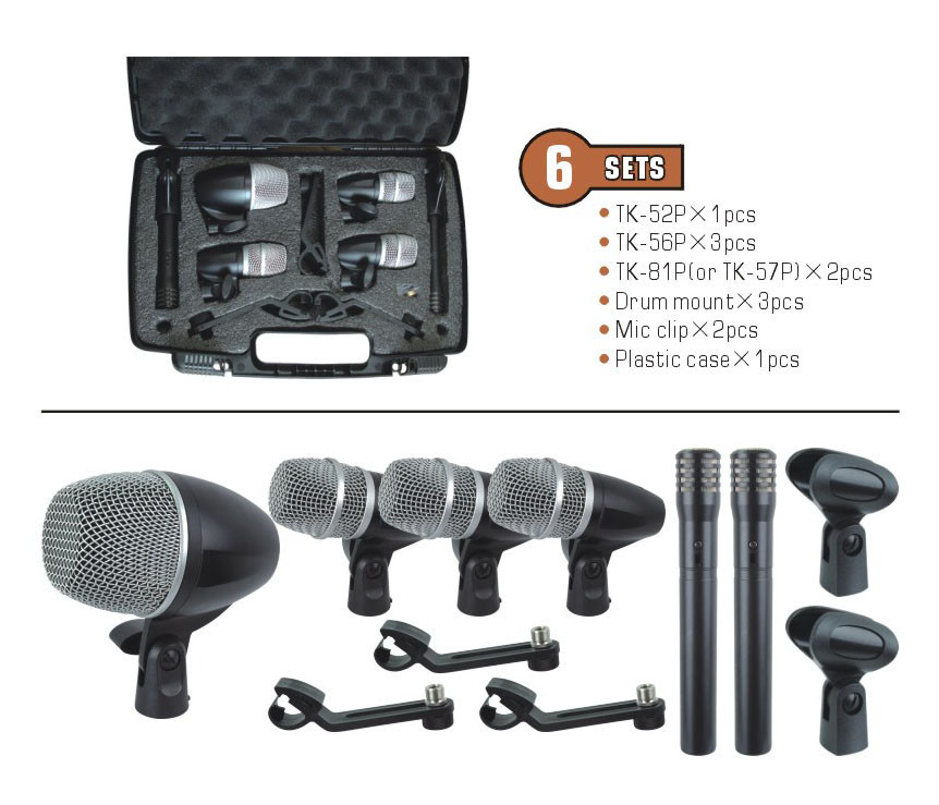 professional condenser microphone set recording microphones tk 6p drum mic 6pcs in one box in. Black Bedroom Furniture Sets. Home Design Ideas