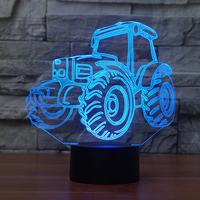 3D LED Night Light Tractor with Remote Controlled 7 Colors Light for Home Decoration Lamp Amazing Visualization Optical Illusion