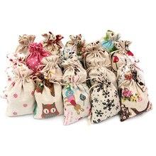 Bolsa de algodón de lino, lote de 5 unidades, 10x14, 13x18, 15x20cm, regalos de cosméticos de muselina, bolsas de embalaje de joyería, bolsa de regalo con cordón