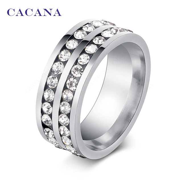 CACANA Titanium Stainless Steel Rings For Women Fashion Double Lines Of CZ Jewel