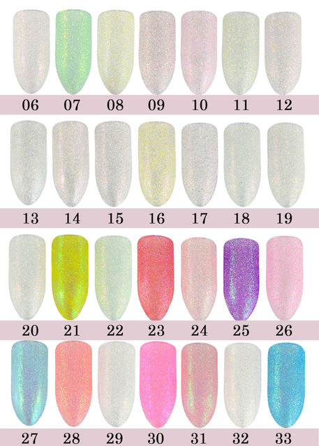 1g Sugar Colorful Holographic Nail Glitter Powder Nail Art Beauty Summer Decor Manicure Pigment Nail Powder Dust Tip