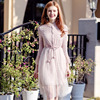 Elegant Warmth Hollow Out Women Lace Mesh Dress With Single Breasted Flare Sleeve Turn Down Collar