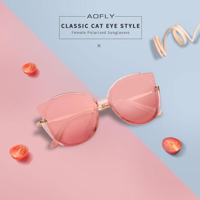 AOFLY BRAND DESIGN Fashion Lady Polarized Sunglasses Women Unique Frame Cat Eye Sun Glasses Gafas UV400 A106 1
