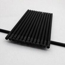 100 adet kawaii siyah ahşap kalem lot siyah kalemler ile silgi okul ofis yazma malzemeleri sevimli sabit HB kalem toplu