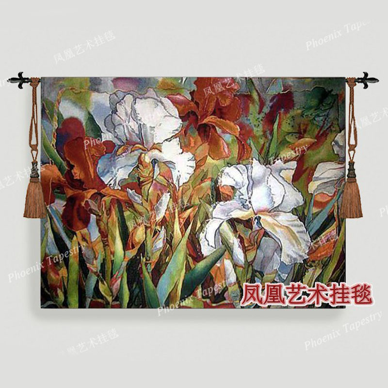 Belgium home textile landscape Iris L wall hanging tapestry 107X138decorative cotton jacauard fabric medieval furniture H150