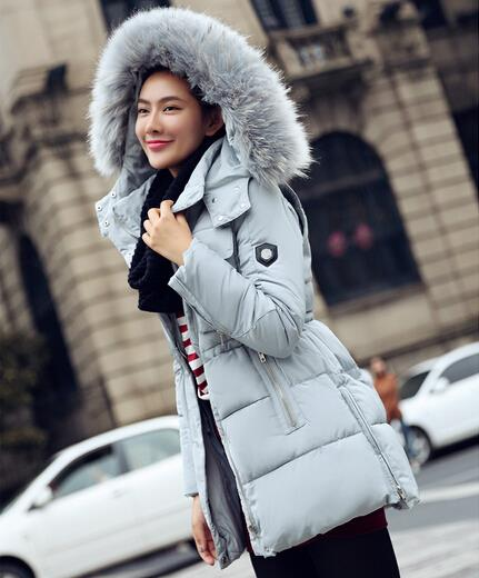 Korean Thick Long Down Coat Slim Winter Down Jacket Cotton padded ...