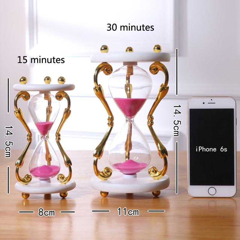 15 30 Minute European metal Sand Hourglass Clock Timer Sandglass Home Decoration Ampulheta Secret Gift in Hourglasses from Home Garden