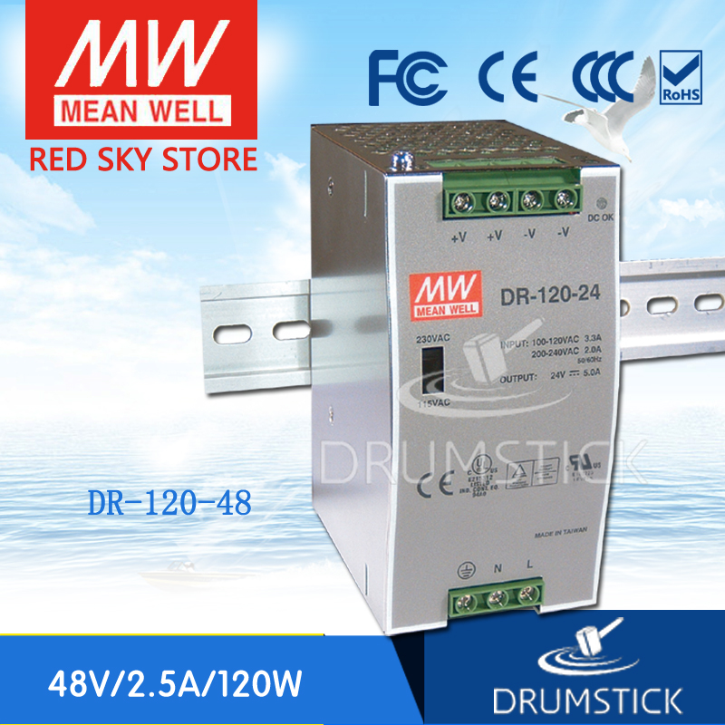 Hot sale MEAN WELL DR-120-48 48V 2.5A meanwell DR-120 48V 120W Single Output Industrial DIN Rail Power SupplyHot sale MEAN WELL DR-120-48 48V 2.5A meanwell DR-120 48V 120W Single Output Industrial DIN Rail Power Supply