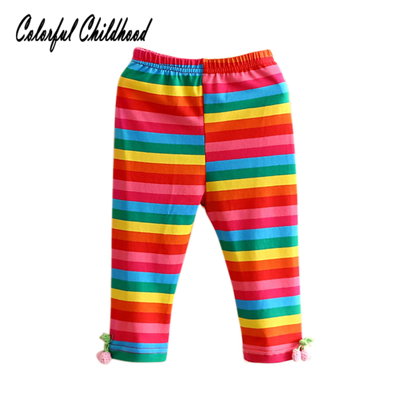 Colorful Childhood Summer Baby Girls Leggings Rainbow Cotton Girls Pants Kids clothes Children Trousers Clothing 2-10 Yrs
