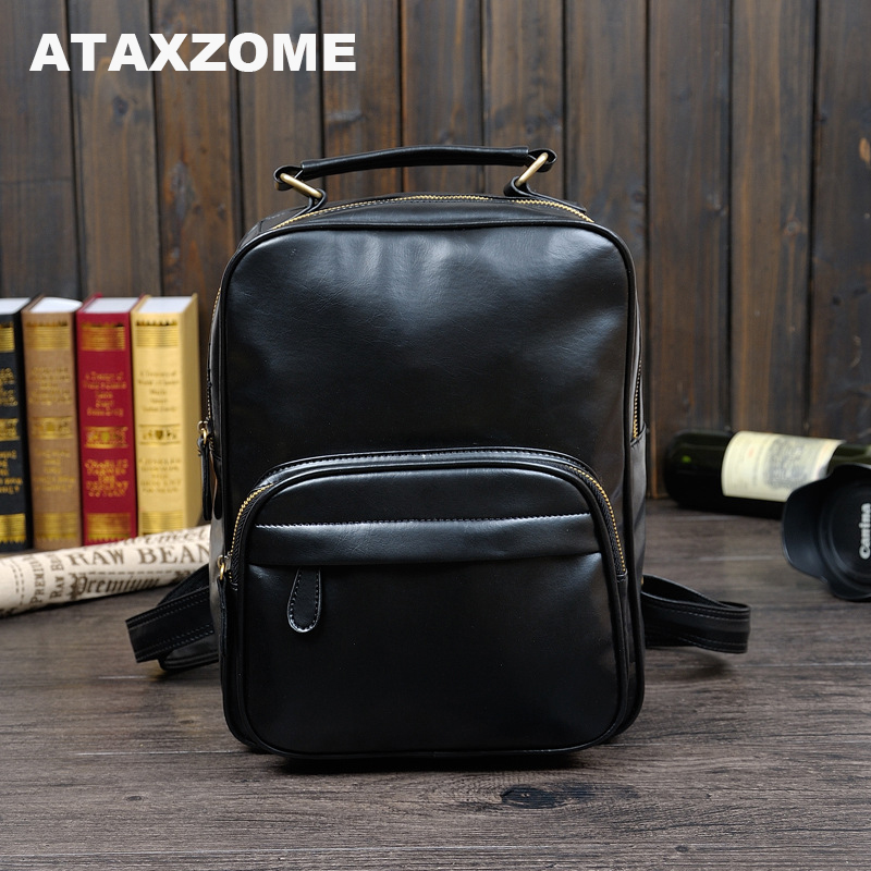 Luggage & Bags Backpacks Ataxzone New Quality Brand Mens Backpack Advanced Pu Crazy Borse Leather Simple Fashion Black/brown Backpack Yz6655 Wide Varieties