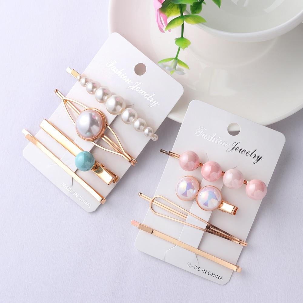4pcs Korea Fashion Women Metal Hairpins Imitation Pearl Colorful Beads Hair Clips Irregular Geometric Hair Styling Accessories